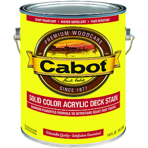 CABOT 1801 1G WHITE BASE SOLID COLOR DECKING ACRYLIC STAIN WITH TEFLON SURFACE PROTECTOR