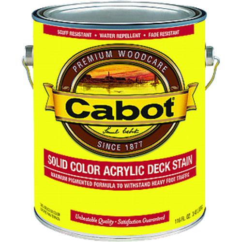 CABOT 1808 1G MED BASE SOLID COLOR DECKING ACRYLIC STAIN WITH TEFLON SURFACE PROTECTOR