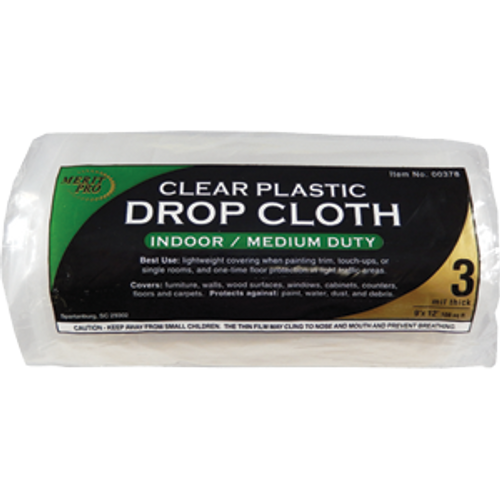MERIT PRO 00378 9' X 12' 3 MIL CLEAR ROLLED DROP CLOTH