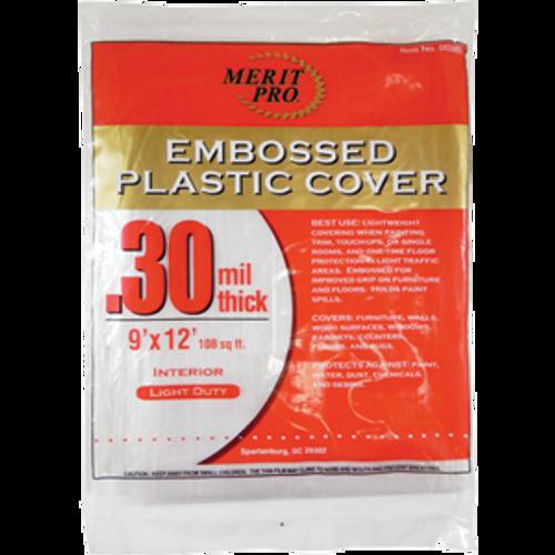 MERIT PRO 00380 9' X 12' .3 MIL EMBOSSED PLASTIC DROP CLOTH