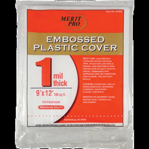 MERIT PRO 00382 9' X 12' 1 MIL EMBOSSED PLASTIC DROP CLOTHS FLAT PACK