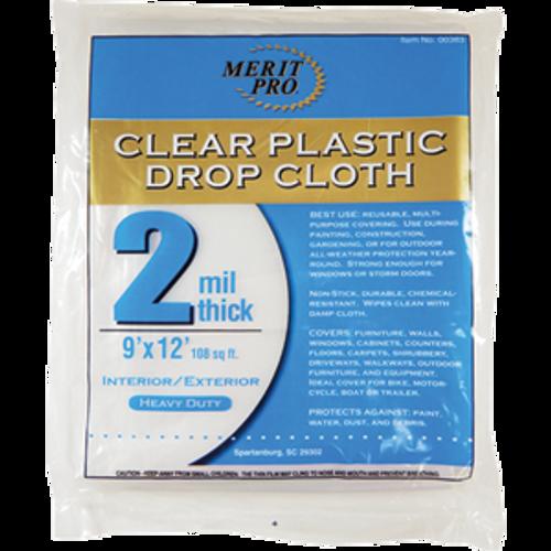MERIT PRO 00383 9' X 12' 2 MIL PLASTIC DROP CLOTHS FLAT PACK