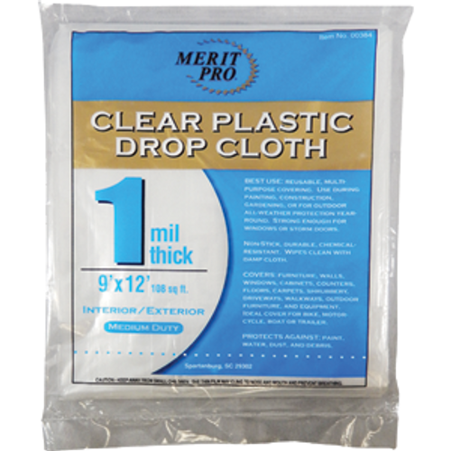 MERIT PRO 00384 9' X 12' 1 MIL PLASTIC DROP CLOTHS FLAT PACK