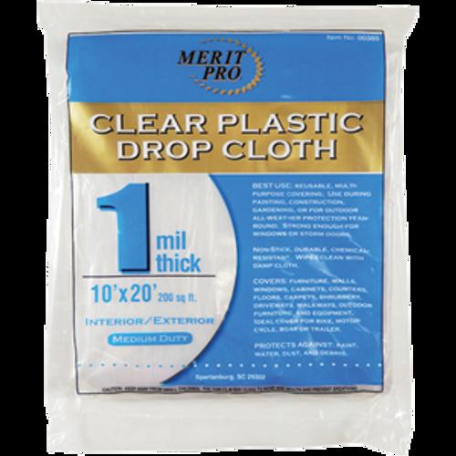 MERIT PRO 00385 10' X 20' 1 MIL PLASTIC DROP CLOTHS FLAT PACK