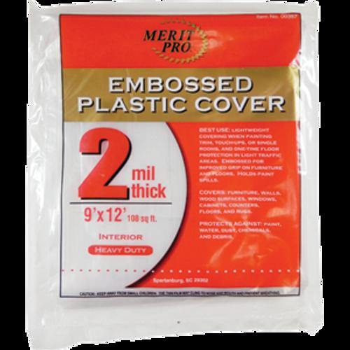 MERIT PRO 00387 9' X 12' 2 MIL EMBOSSED PLASTIC DROP CLOTH FLAT PACK