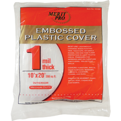 MERIT PRO 00388 10' X 20' 1 MIL EMBOSSED PLASTIC DROP CLOTH