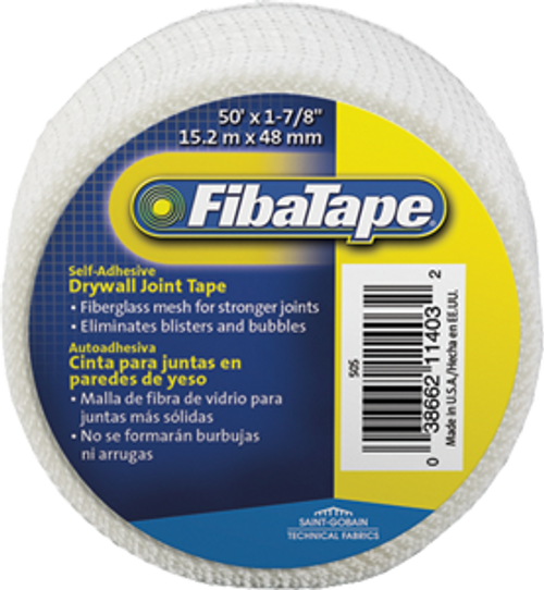 "FIBATAPE FDW6918-U 1-7/8"" X 50' WHITE MESH DRYWALL JOINT TAPE SHRINK WRAP SELF ADHESIVE"