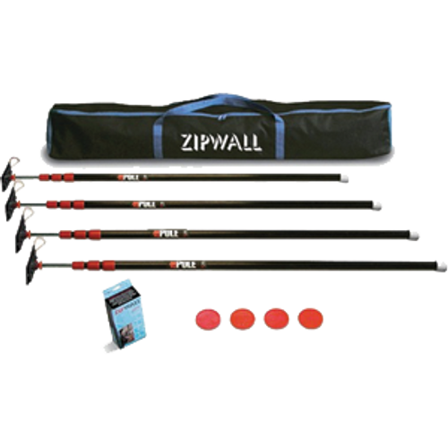 ZIPWALL ZP4 10' STEEL SPRINGLOADED TWIST LOCKING DUST BARRIER POLES WITH LOCKING PLATES 4PK