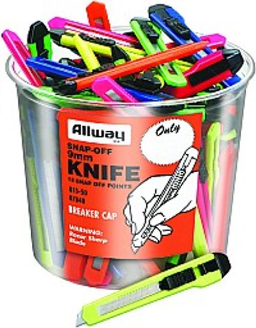 Allway K13-50 9mm 13Pt Snap Off Knife Bucket 50Pk