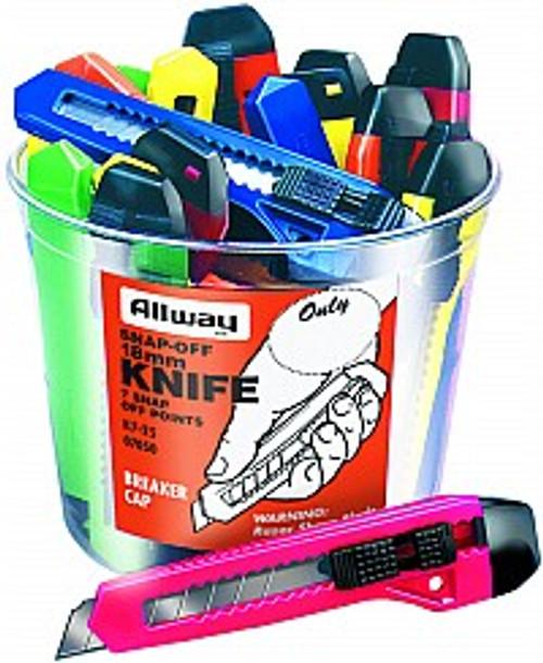 Allway K7-25 18mm 7Pt Snap Off Knife Bucket 25Pk