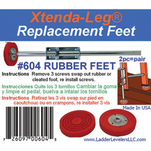 LADDER ACCESSORIES 604 REPLACEMENT RUBBER FEET FOR 600C PAIR