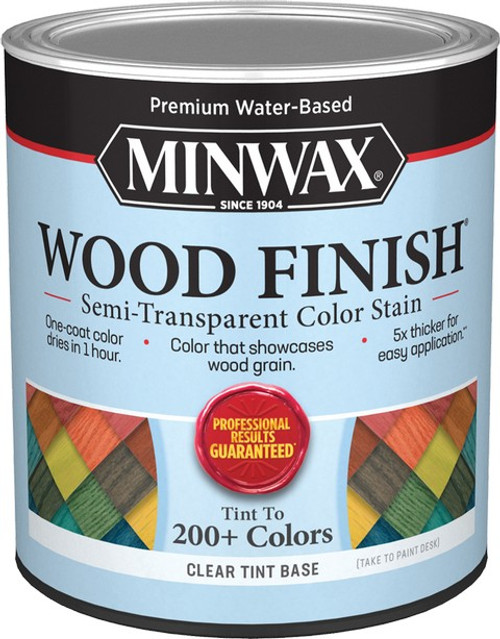 Minwax 11720 Qt Clear Tint Base Wood Finish Water-Based Semi-Transparent Color Stain