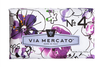 Via Mercato Soap #4 - Violets, Magnolia and Amber - 7 oz