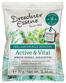 Dresdner Essenz Active and Vital Sparkling Bath with Spruce Needle and Eucalyptus - 2.46 oz