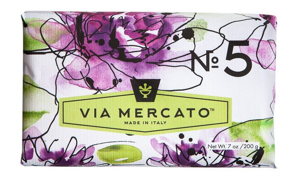 Via Mercato Soap #5 - Waterlily and Sandalwood - 7 oz