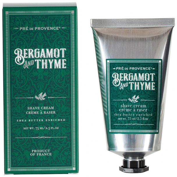 Pre de Provence Bergamot and Thyme Shea Butter Enriched Shave Cream - 2.5 oz tube