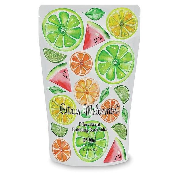 Primal Elements Citrus Melonmint Effervescent Bubbling Bath Salts - 12 oz pouch