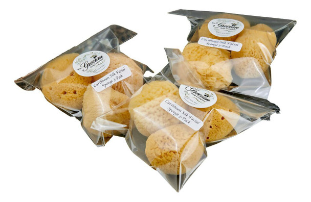 Grecian Soap Company Natural Caribbean Silk Facial Sponge 3-Pack