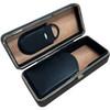 Black Leather 3 Cigar Folding Case
