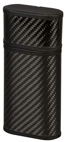 Black Leather and Carbon Fiber Cigar Case