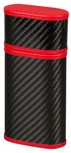 Carbon Fiber and Red 3 Cigar Case
