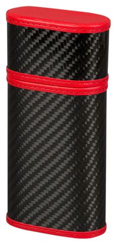 Carbon Fiber and Red 3 Cigar Case
