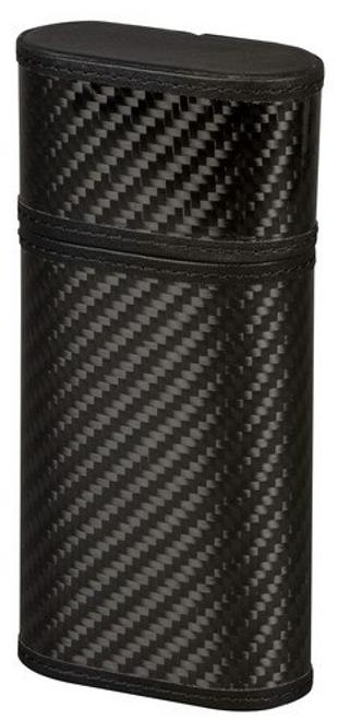 Black Leather and Carbon Fiber Cigar Case