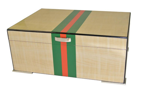 75 Count Red and Green Striped Humidor