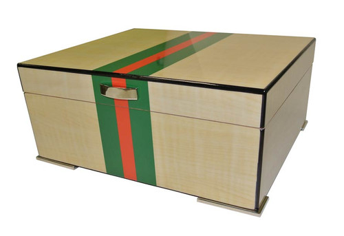 50 Count Red and Green Striped Humidor