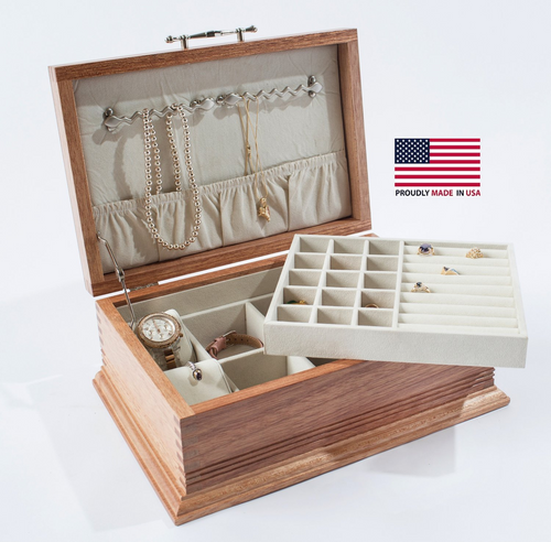 Americana Jewel Chest w/ Elegant Base & Lift-Out Tray