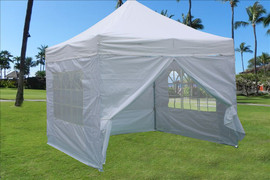 White 10'x10' Pop up Tent with 4 Sidewalls - E Model