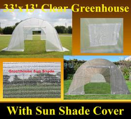Clear Greenhouse 33'x13' w Sun Shade Cover - Walk In Nursery