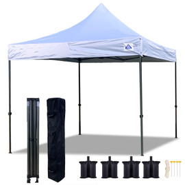 10'x10' D Model White w Silver Coating - Pop Up Canopy Tent EZ  Instant Shelter w Wheel Bag + Sand Bags