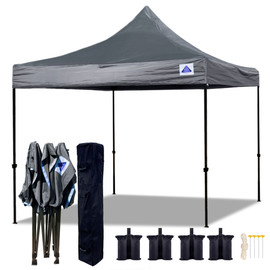 10'x10' D Model Grey - Pop Up Canopy Tent EZ  Instant Shelter w Wheel Bag + Sand Bags