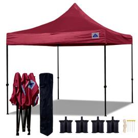 10'x10' D Model Maroon - Pop Up Canopy Tent EZ  Instant Shelter w Wheel Bag + Sand Bags