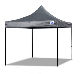 10'x10' D/S Model Grey - Pop Up Canopy Tent EZ  Instant Shelter w Wheel Bag + Sand Bags + 4 Walls