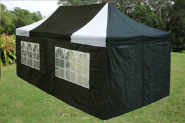 10'x20' D/W Model Black White - Pop up Tent with 4 Window Walls + 4 Sand Bags + Wheel Bag