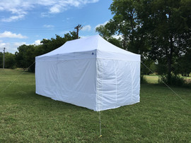 White 10'x20' D/S Model Pop up Tent with 6 Solid Walls + 4 Weight Bags + 1 Wheel Bag
