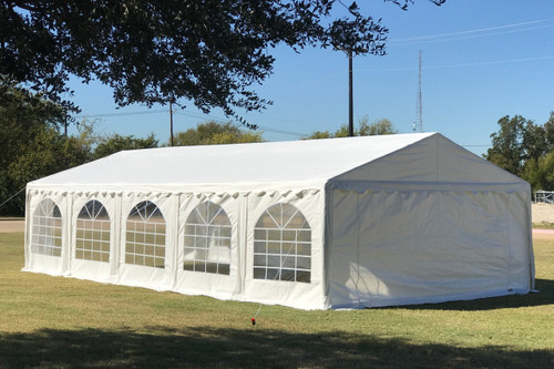 PE Party Tent 32'x16'  White - Heavy Duty Wedding Carport with Waterproof Top