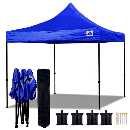 10'x10' D Model Blue - Pop Up Canopy Tent EZ  Instant Shelter w Wheel Bag + Sand Bags