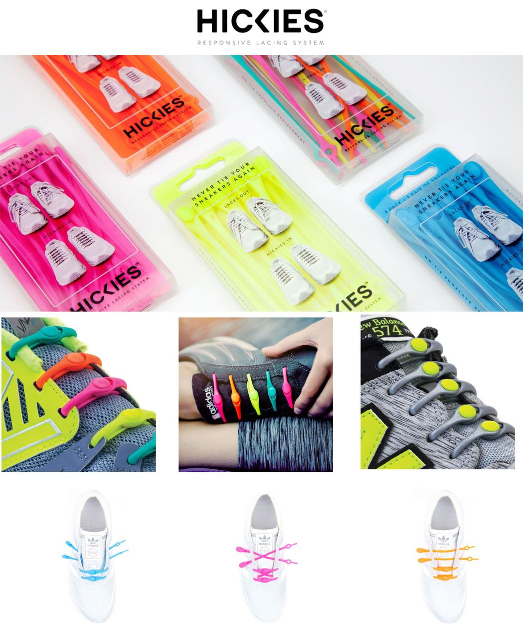 HICKIES 14 Elastic Trainer Lacing Replacement System No More Shoe Laces
