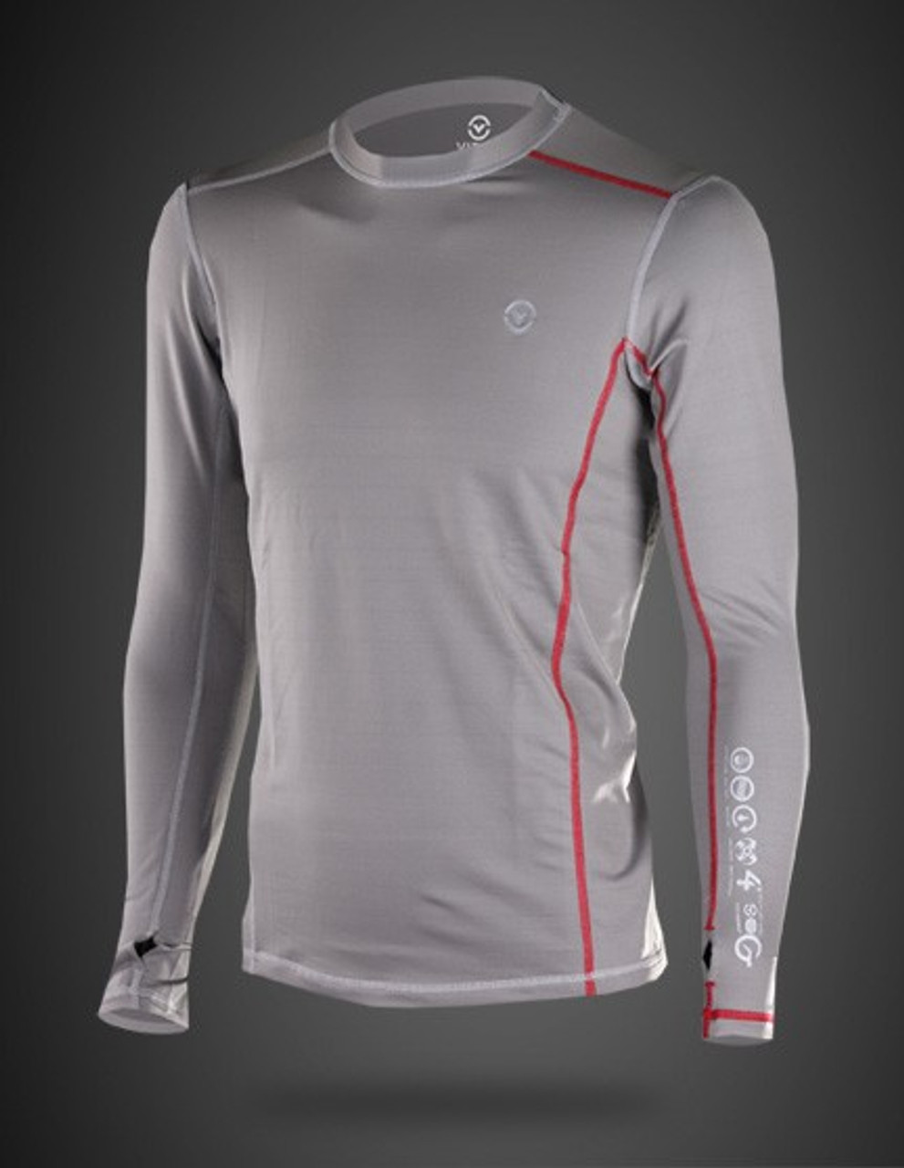Virus Mens Stay Warm Coffee Charcoal Long Sleeve Compression Top