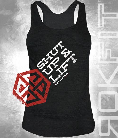 """BattleBox and RokFit """"Shut Up & Lift"""" Motivation Women T-Shirt"""