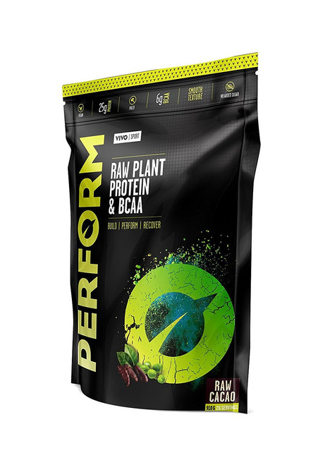 Vivo Life PERFORM Plant Based Protein Powder RAW CACAO with BCAA Vegan All Natural Paleo - www.BattleBoxUk.com