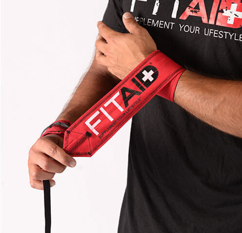 FITAID STEP & REPEAT WRIST WRAPS -RED www.battleboxuk.com