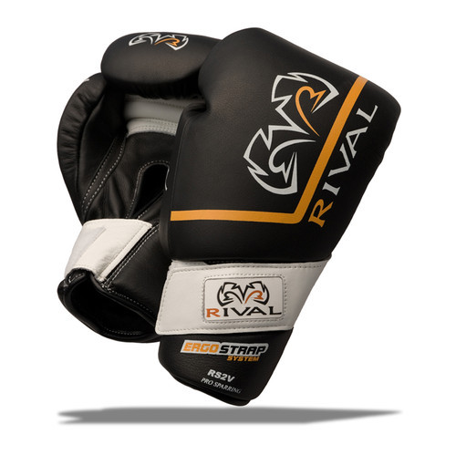 CrossTrainingUK - Rival Boxing RS2V PRO Sparring Boxing Leather Velcro Gloves Black