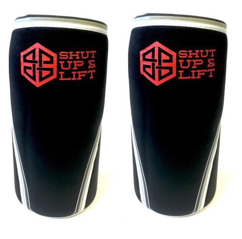 "Battle Box ""SHUT UP & LIFT"" Edition Neoprene Knee Sleeves 5/7mm WWW.BATTLEBOXUK.COM"
