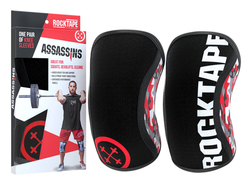 www.BattleBoxUk.com - RockTAPE Assassins® Camo Knee Sleeves - Knee Support & Protection Caps 5mm or 7mm