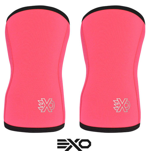 EXO SLEEVES NEON PINK - 7MM KNEE SLEEVES Knee Caps Support (PAIR) (KS-7MM-NEONPINK) - www.BattleBoxUk.com