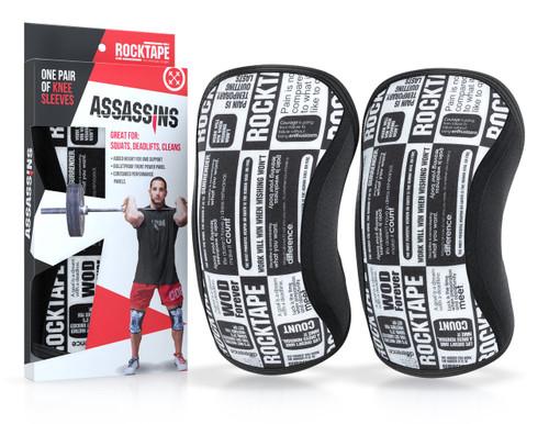 www.BattleBoxUk.com - RockTAPE Assassins® Manifesto Knee Sleeves - Knee Support & Protection Caps 5mm or 7mm